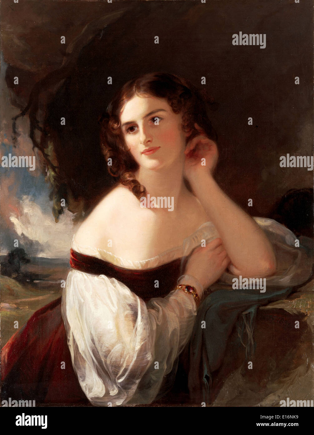 Portrait of Fanny Kemble by Thomas Sully, 1834 - Stock Image