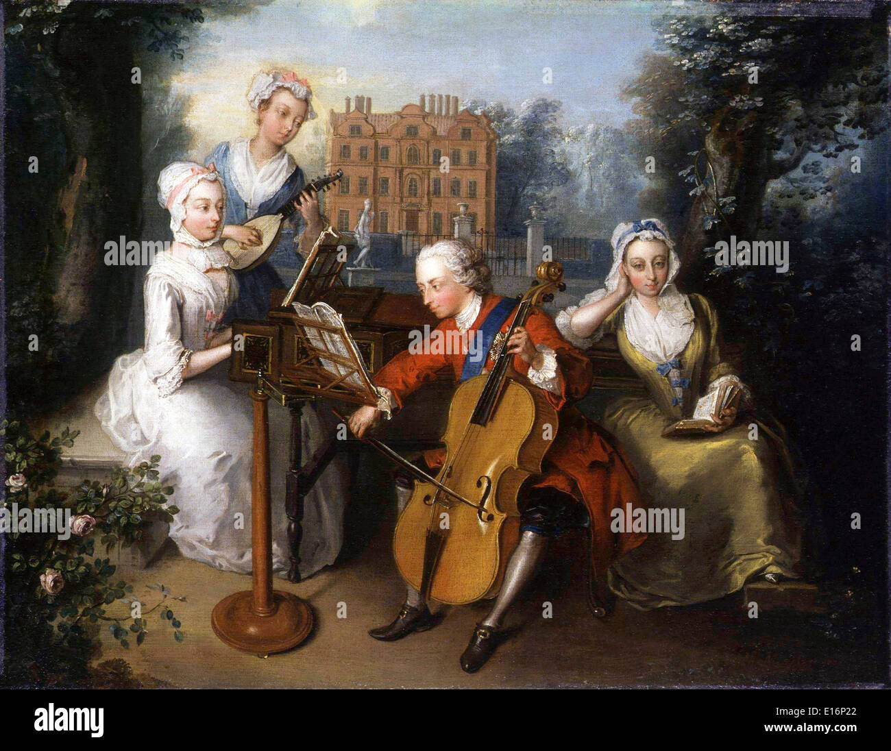 Frederick, Prince of Wales and his sisters (The Music Party) by Philip Mercier, 1733 - Stock Image