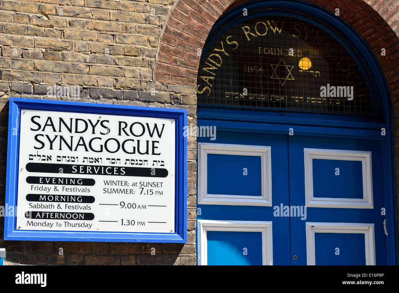Sanday's Row Synagogue is a historic Grade II listed building synagogue in the East End of London. - Stock Image
