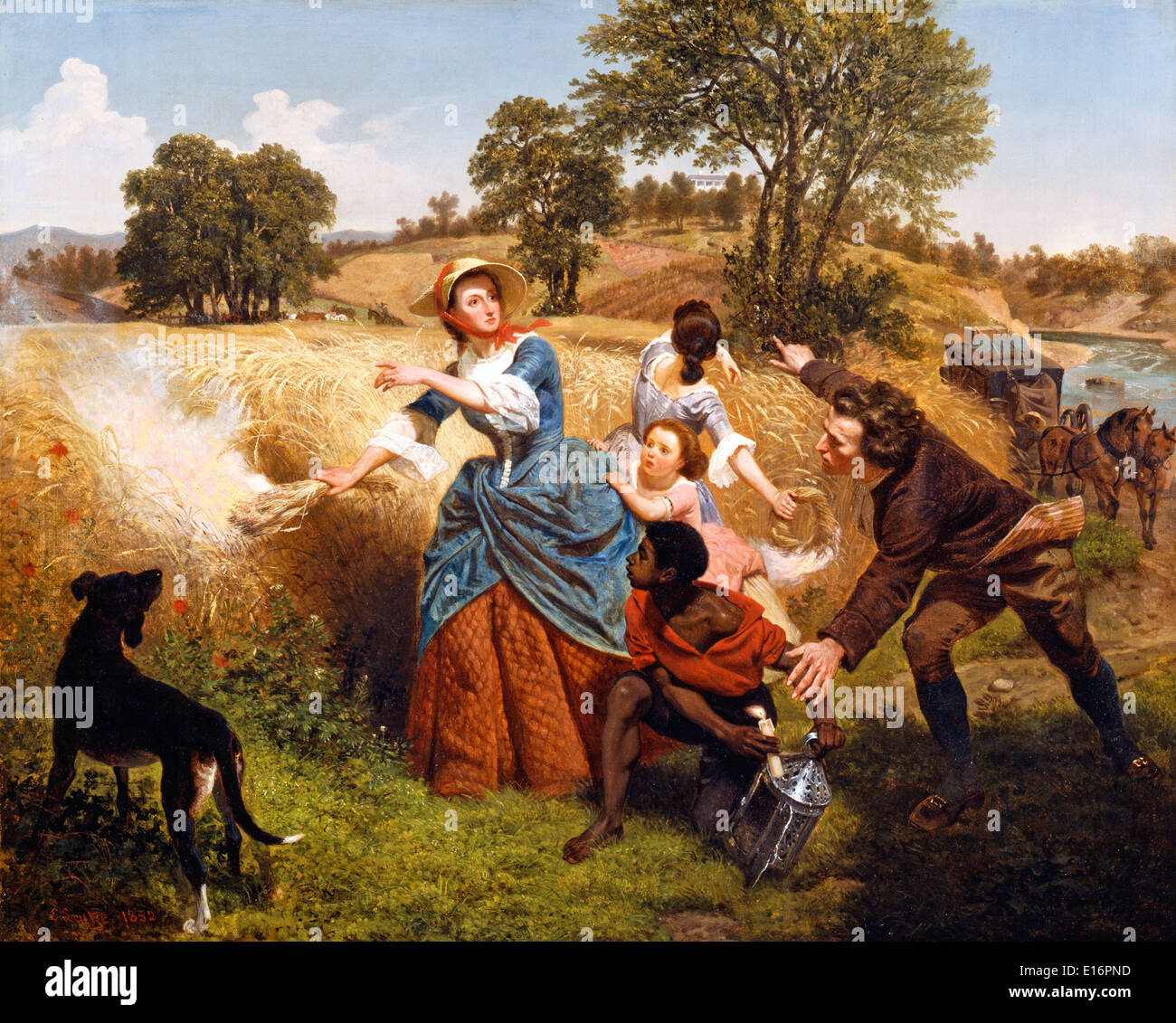 Mrs. Schuyler Burning Her Wheat Fields on the Approach of the British by Emanuel Leutze, 1852 - Stock Image
