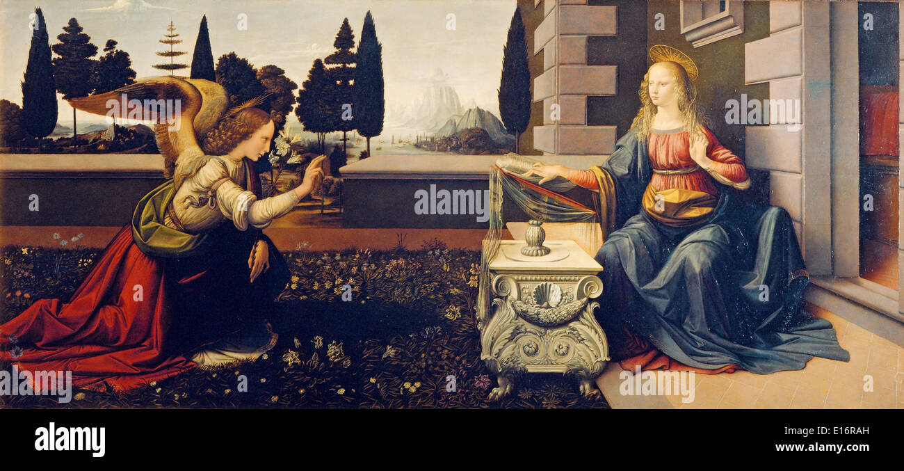 Annunciation by Leonardo Da Vinci, 1480 - Stock Image