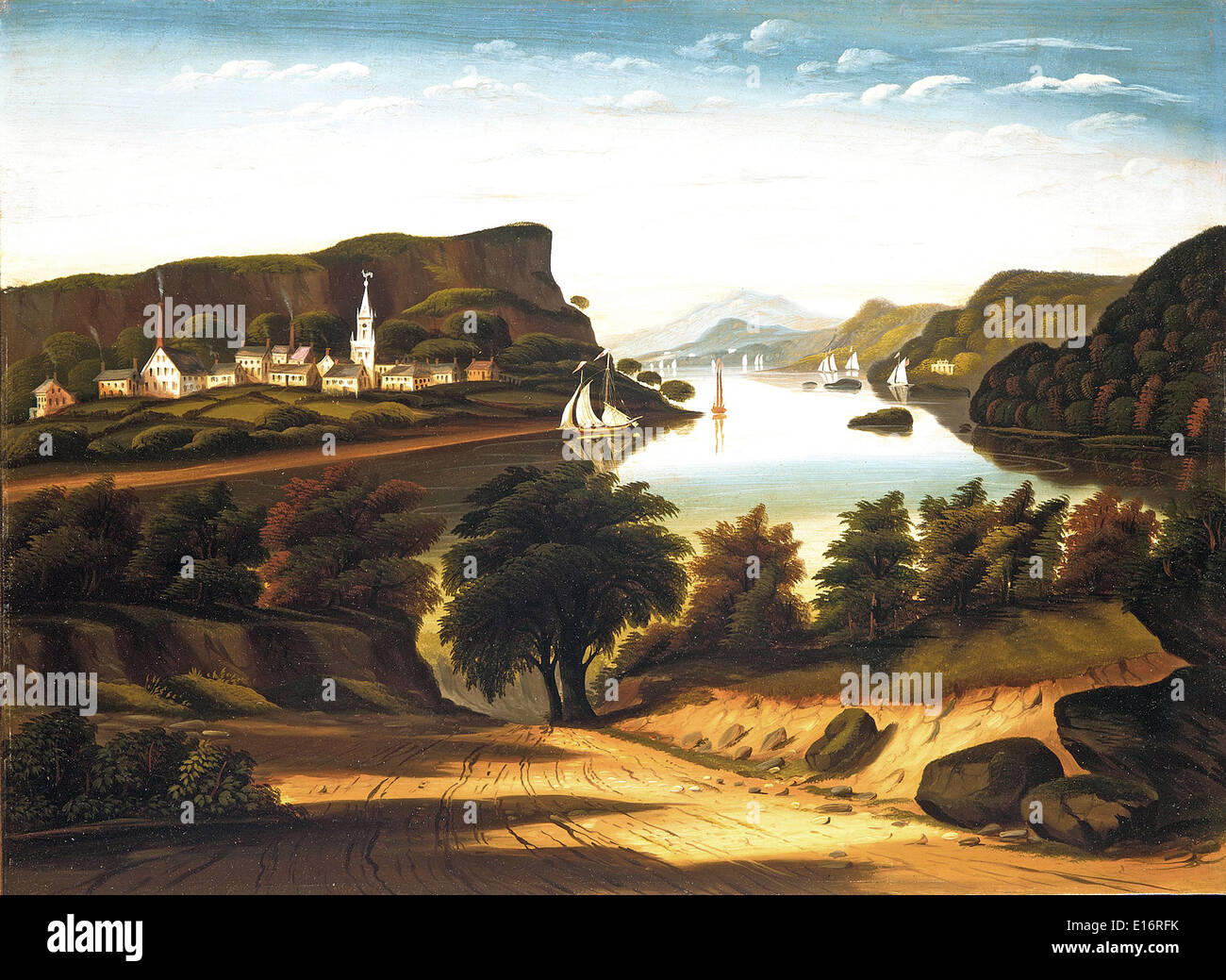 Lake George and the Village of Caldwell by Thomas Chambers, 1850's - Stock Image