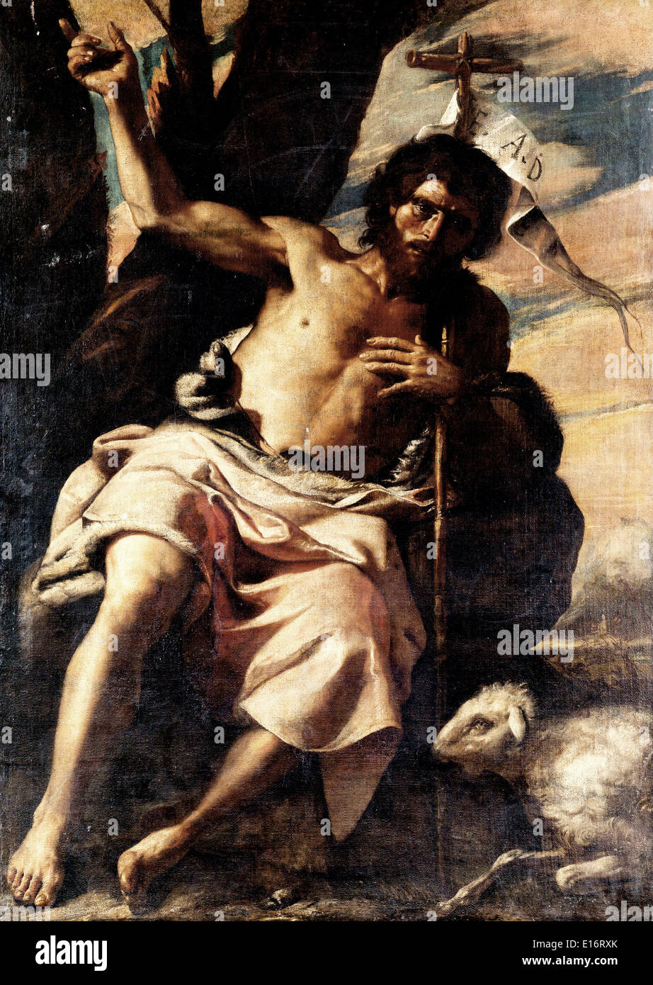 John the Baptist Preaching by Mattia Preti - Stock Image
