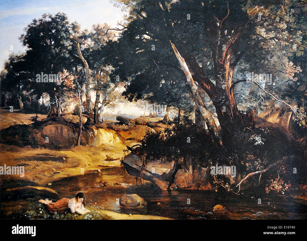 Forest of Fontainebleau by Jean-Baptiste-Camille Corot, 1834 - Stock Image