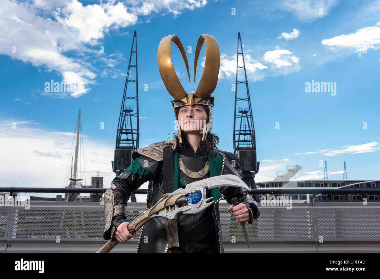 London, UK, 24 May 2014 - comic book fans and cosplay artists gather at the Excel Centre in Royal Victoria Docks at the bi-annual London Comic Con festival.  Many participants had spent a lot of money and time perfecting their costumes.  Pictured - Loki from the Thor movies. Credit:  Stephen Chung/Alamy Live News - Stock Image