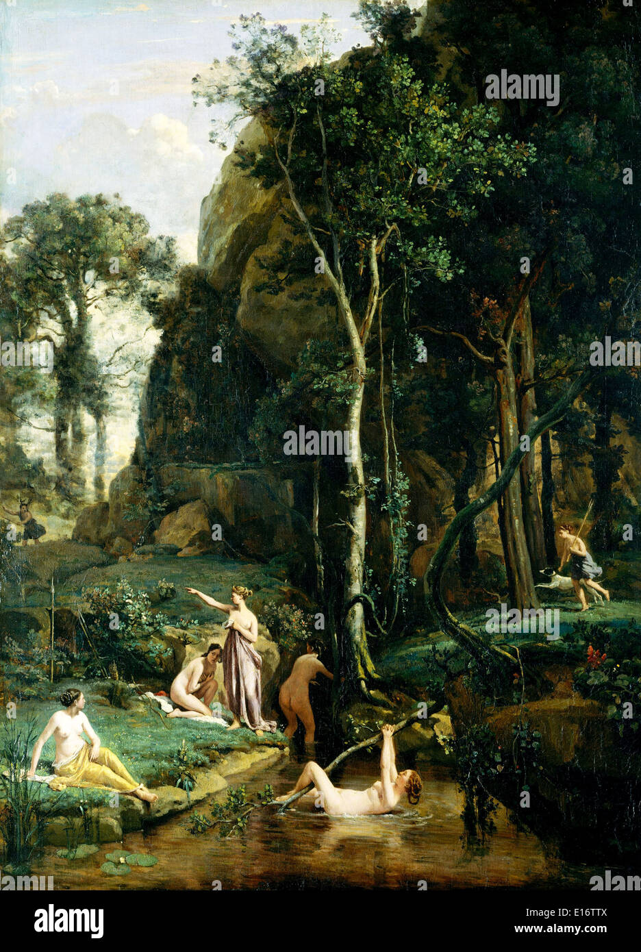 Diana and Actaeon Diana Surprised in Her Bath by Camille Corot,1836 - Stock Image