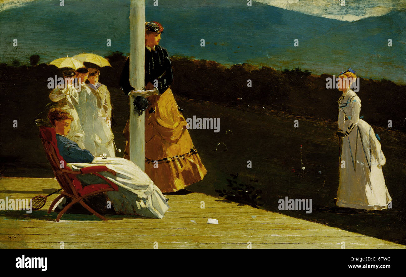 Croquet Match by Winslow Homer, 1869 - Stock Image