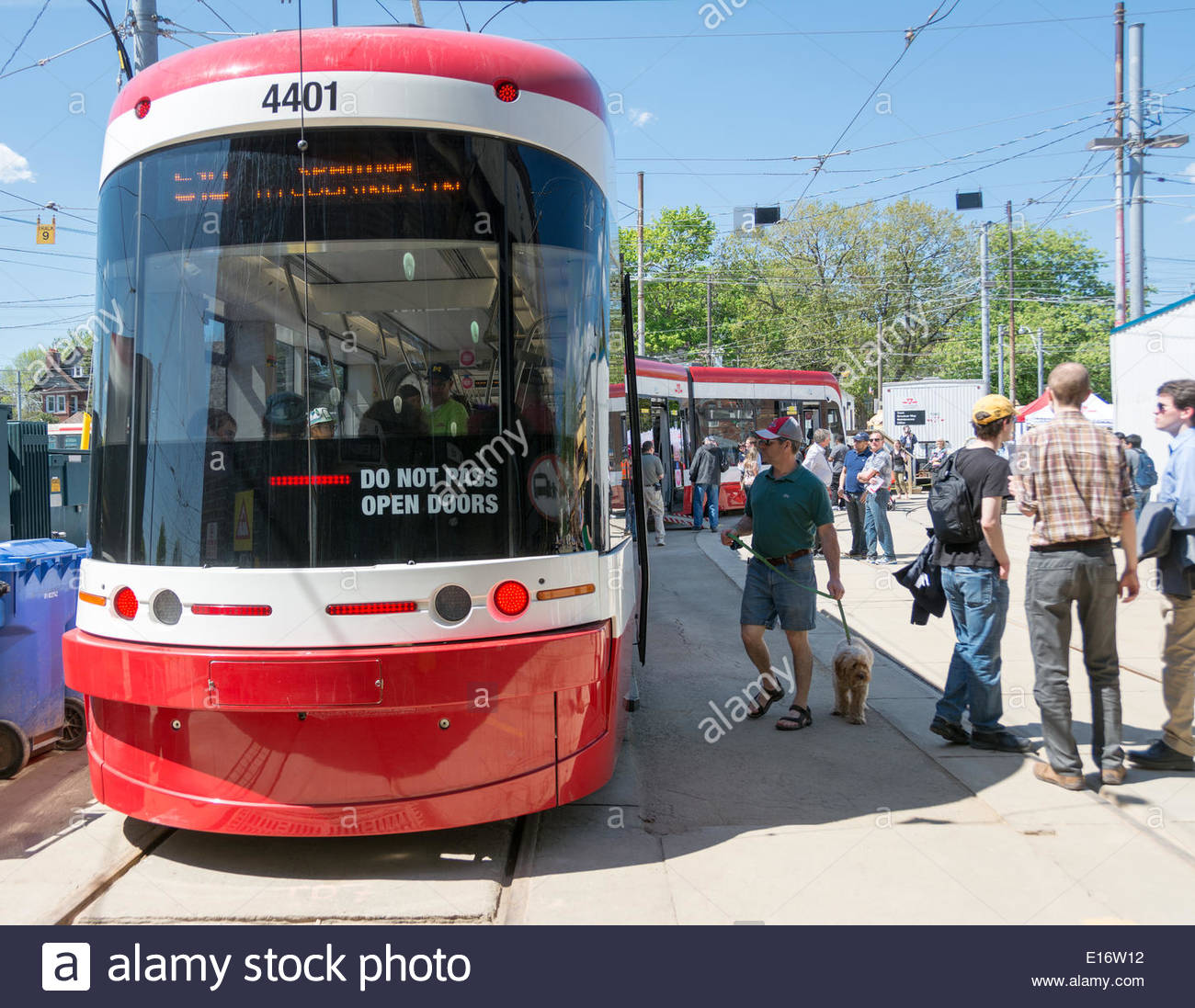 Toronto, Canada. 24th May, 2014. Bombardier new streetcars were presented to the public for the first time by the TTC. The new vehicles will start do their routes in August 2014 as planned by the city. Credit:  Yelena Rodriguez/Alamy Live News - Stock Image