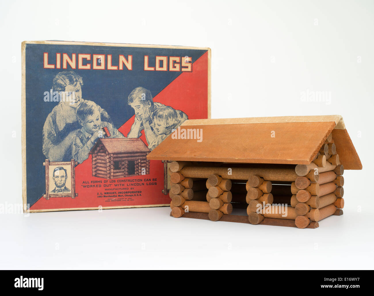 Lincoln Logs children's toy invented by John Lloyd Wright a National Toy Hall of Fame member - Stock Image