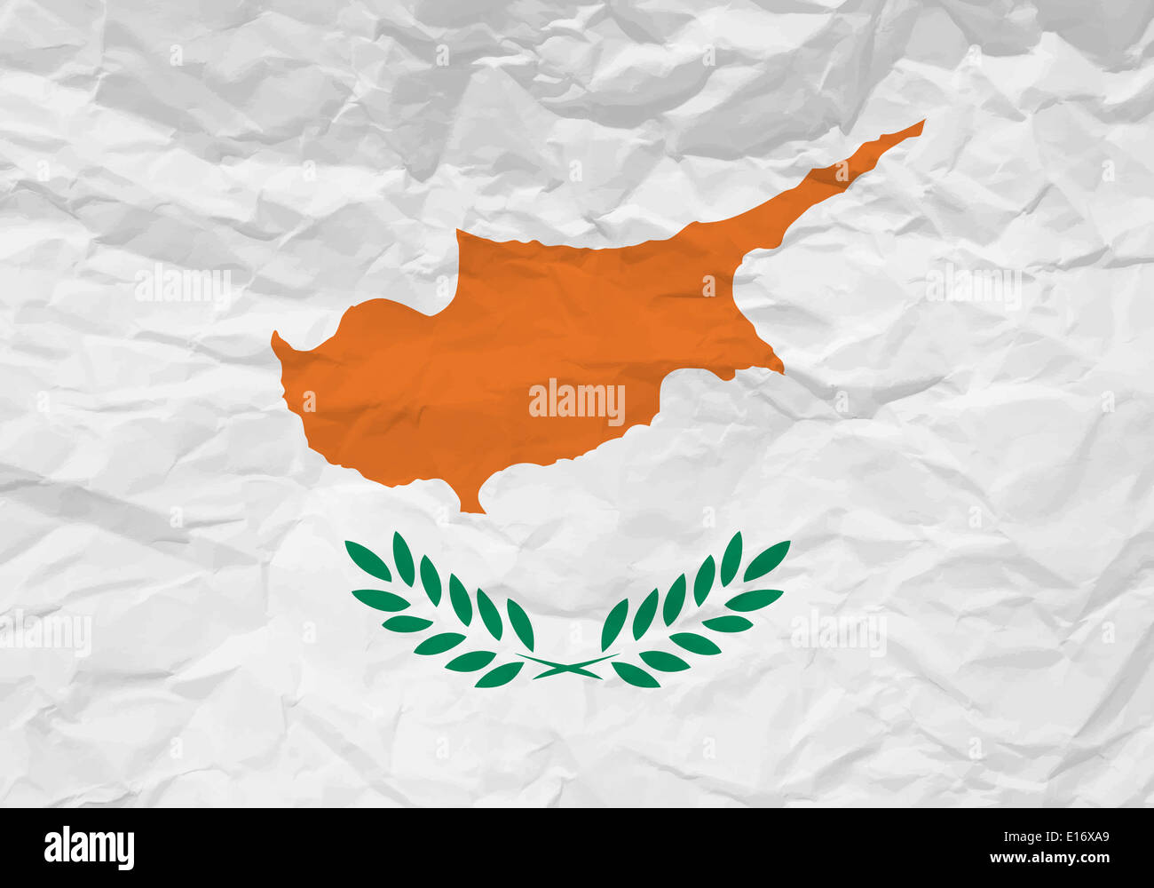 Cyprus flag crumpled paper textured background. Vector illustration. - Stock Image