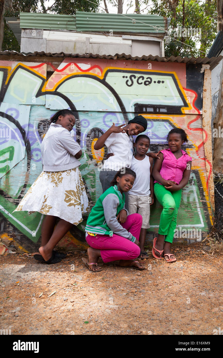 Children pose in Imizamo Yethu Township (Mandela Park), Cape Town, South Africa Stock Photo