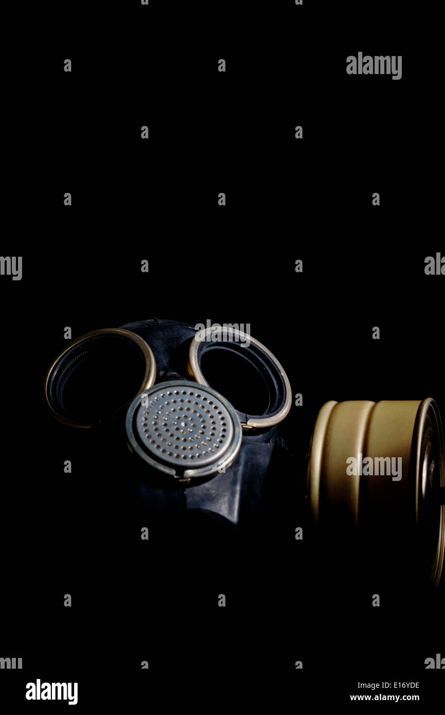 Russian army gas mask isolated on black background - Stock Image