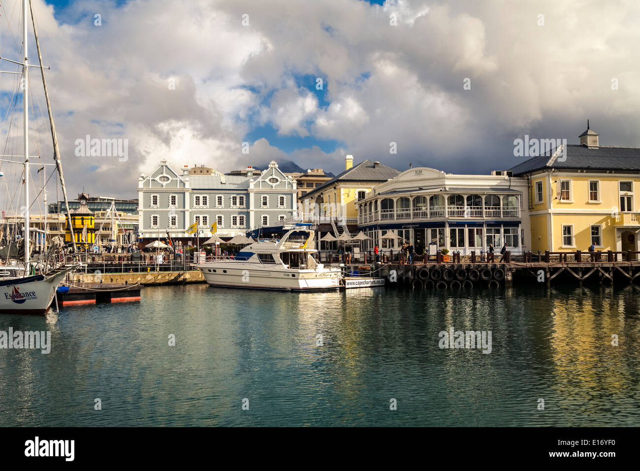 View over the sunny Victoria & Alfred (V&A) Waterfront, Cape Town - Stock Image