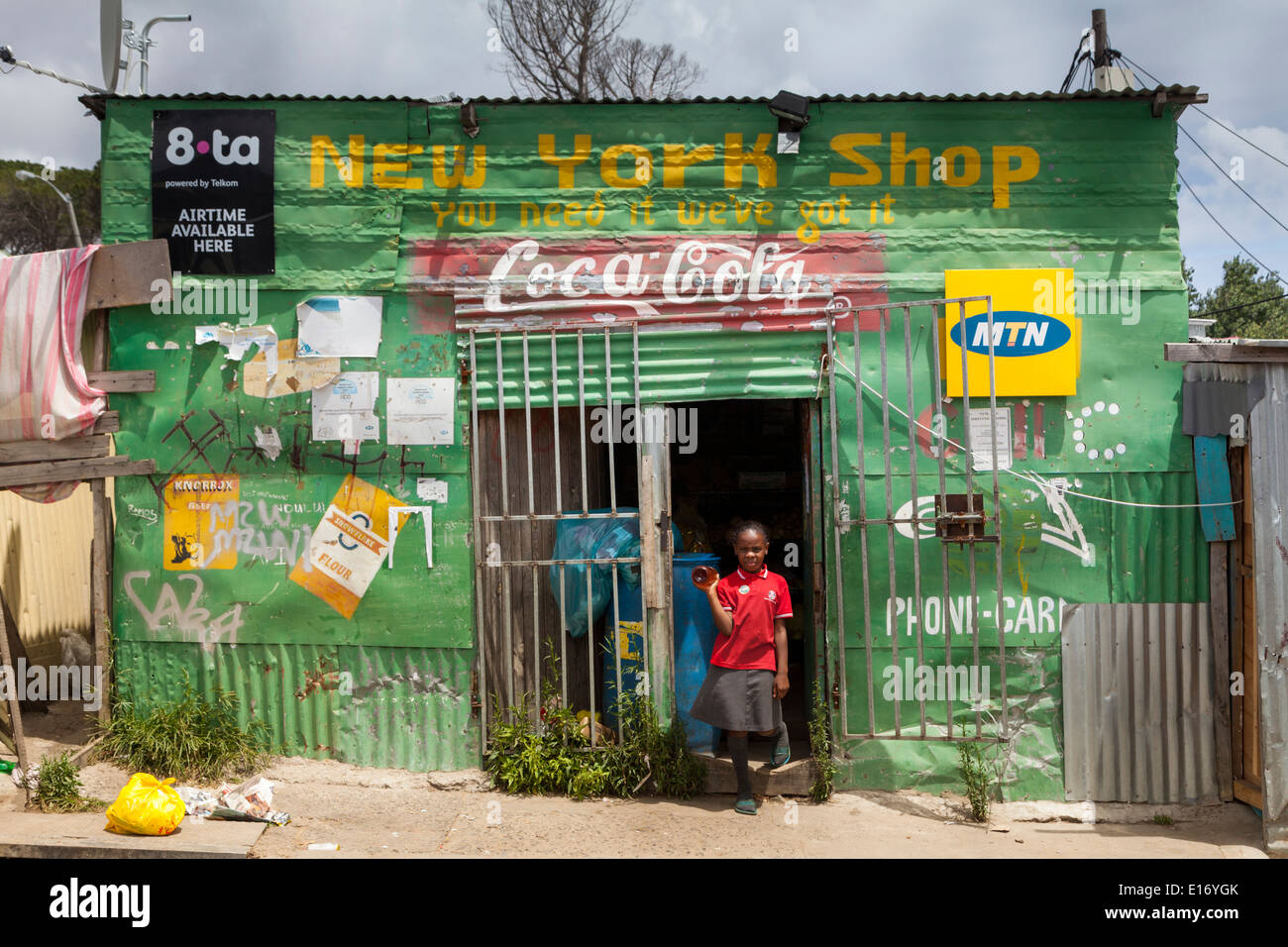 Convenience store in Imizamo Yethu Township (Mandela Park), Cape Town, South Africa Stock Photo