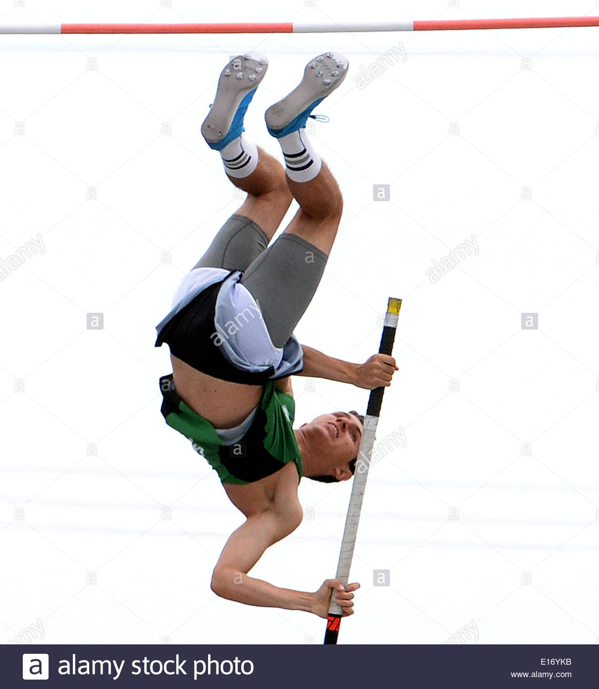 Norwalk, California, USA. 24th May, 2014. Thousand Oak's Luigi Colella jumps at 17-00.75 and wins the division 2 pole vault during the CIF Southern Section track and final Championships at Cerritos College in Norwalk, Calif., on Saturday, May 24, 2014. (Keith Birmingham/Pasadena Star-News) © San Gabriel Valley Tribune/ZUMAPRESS.com/Alamy Live News - Stock Image