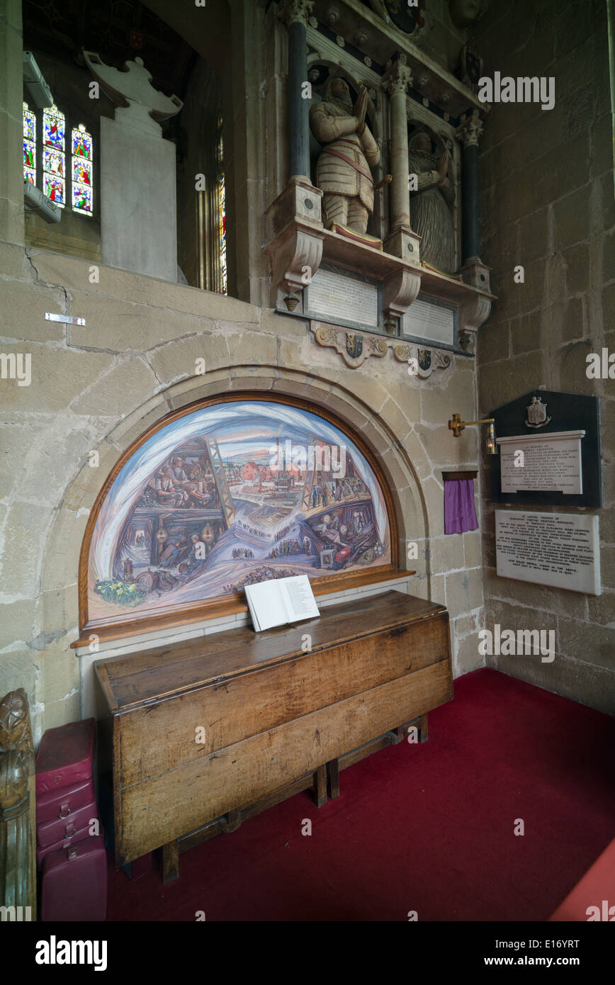 Painting in All Saint's church, Gresford, depicting scenes from the Gresford colliery disaster and rescue of 1934. - Stock Image