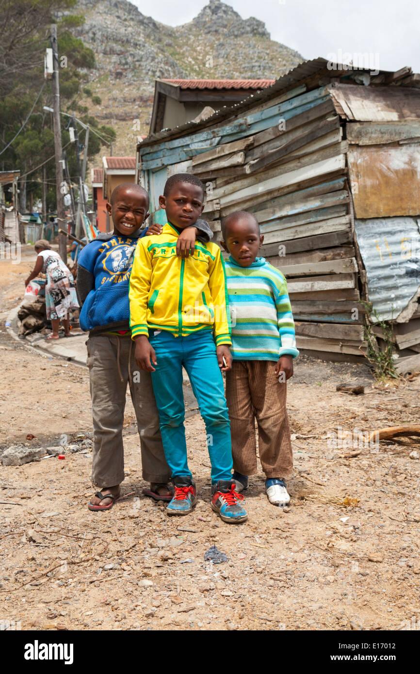 Children posing in Imizamo Yethu Township (Mandela Park), Cape Town, South Africa Stock Photo