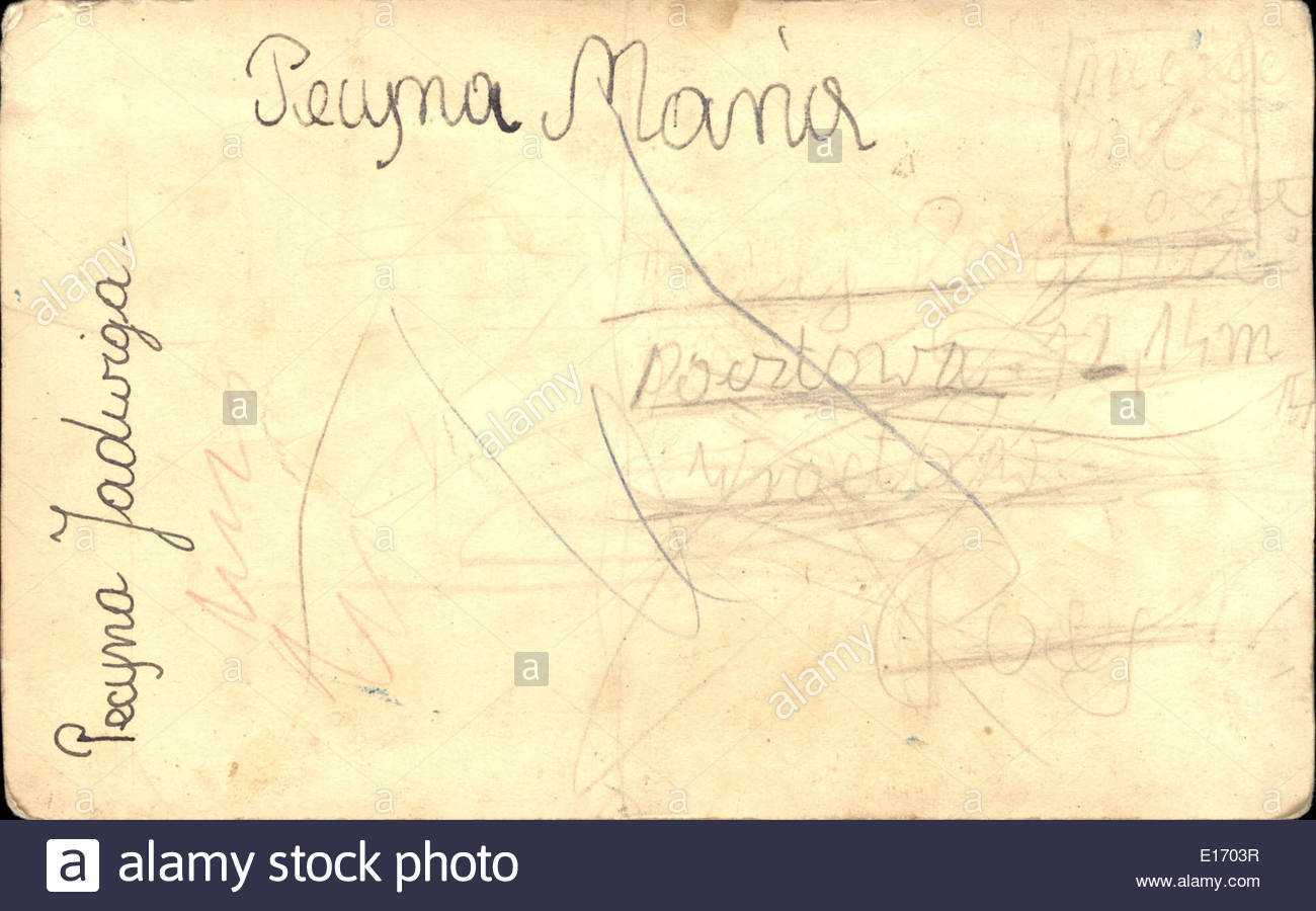 Backside of Vintage postcard with handwritten message - Stock Image