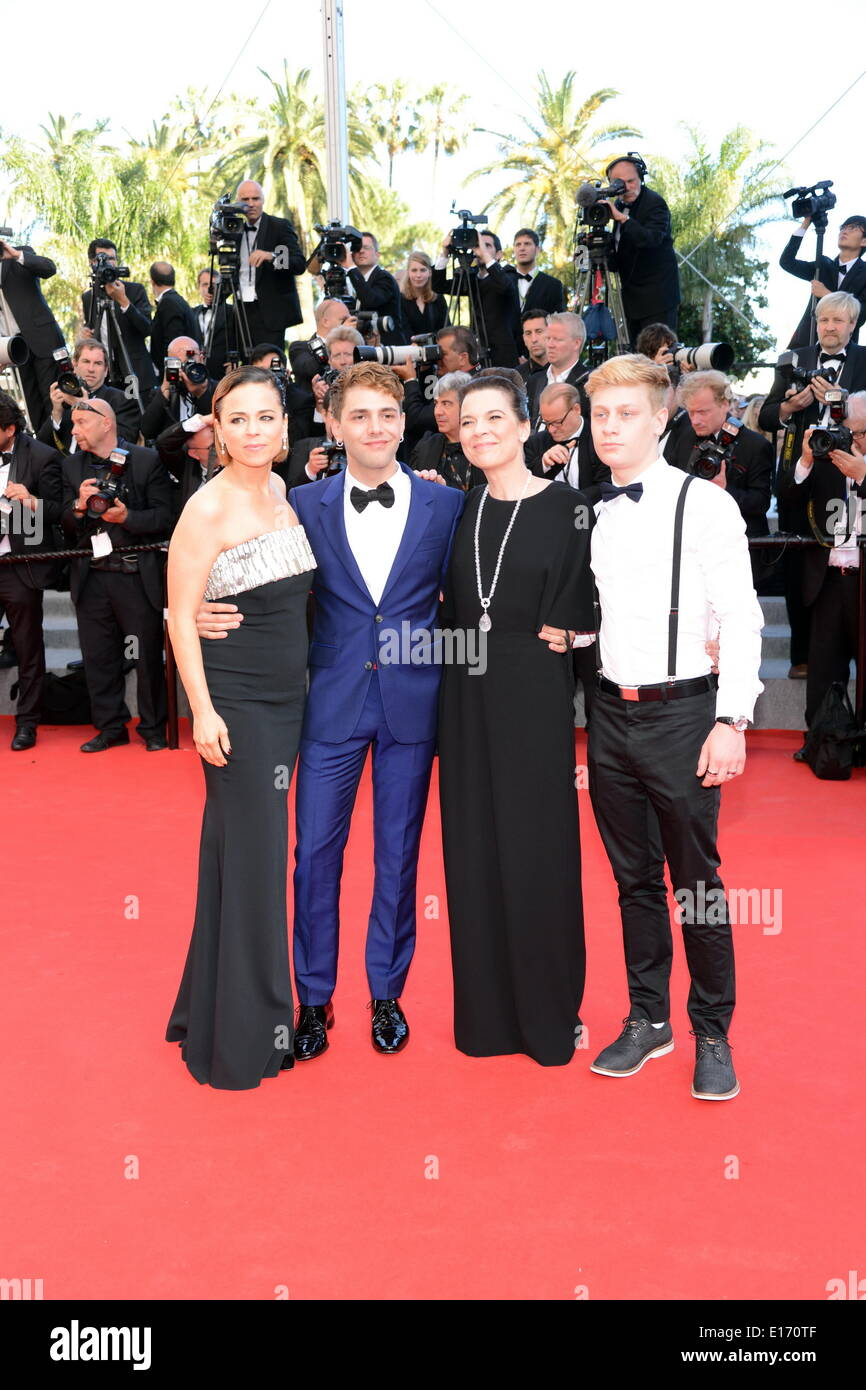 Cannes, France. 24th May, 2014. CANNES, FRANCE - MAY 24: (L-R) Suzanne Clement, Director Xavier Dolan, Anne Dorval and actor Olivier Pilon attends the Closing Ceremony and 'A Fistful of Dollars' screening during the 67th Annual Cannes Film Festival on May 24, 2014 in Cannes, France Credit:  Frederick Injimbert/ZUMAPRESS.com/Alamy Live News - Stock Image