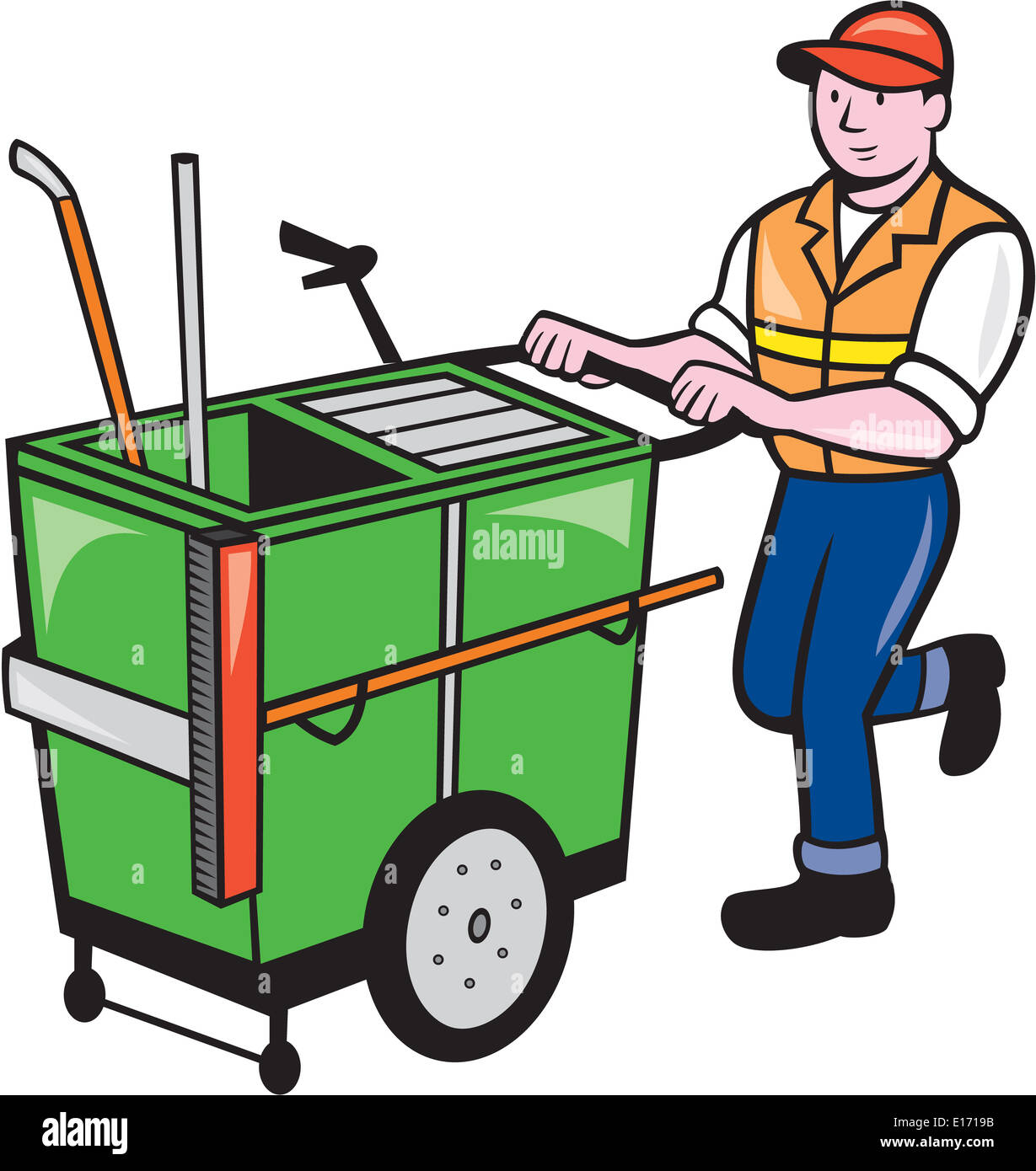 Illustration of a street cleaner worker pushing a cleaning trolley viewed from front on isolated background done Stock Photo