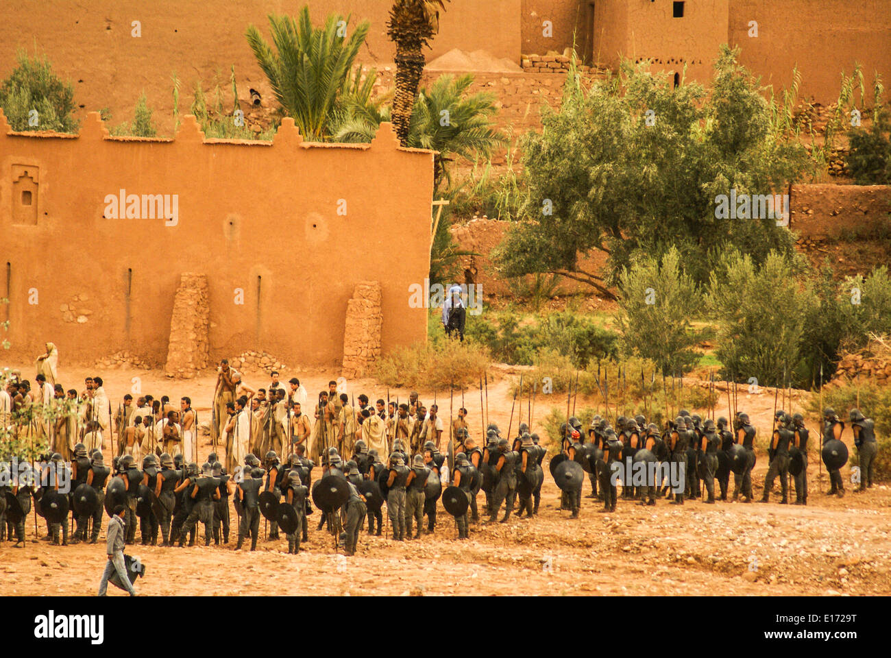 Filming of Game of Thrones in the village of Ait Benhaddou, Morocco - Stock Image