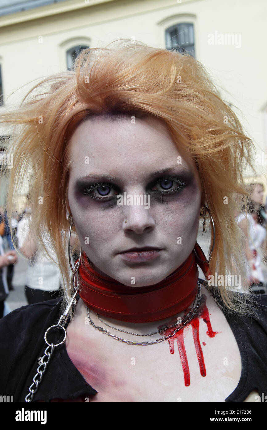 Female participant at the prague zombi walk may 2014. Wearing a red collar and a black dress. Headshot - Stock Image