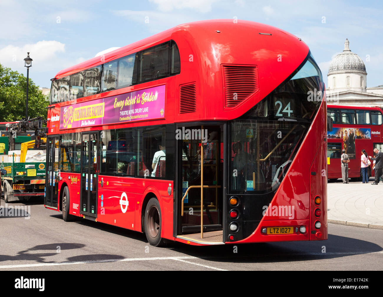 A new London Routemaster bus in Trafalgar Square, London, England, U.K. - Stock Image