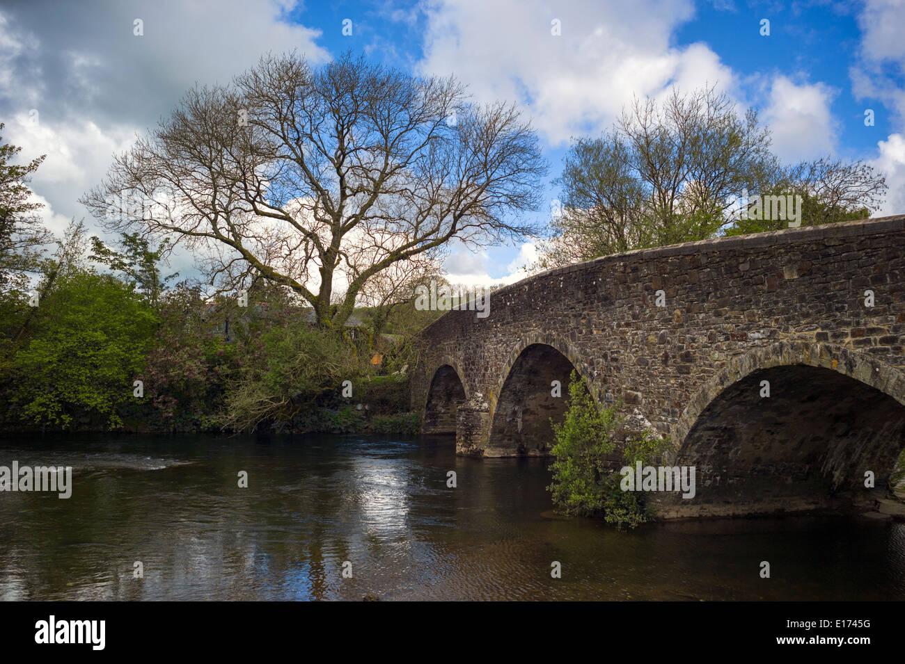 Bridge over the River Exe at the village of Exebridge, near Dulverton, on the Somerset and Devon border - Stock Image