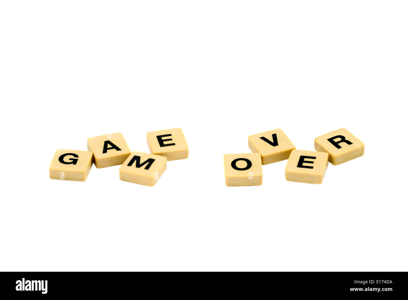 game over bankruptcy scrabble text Isolated on white background - Stock Image
