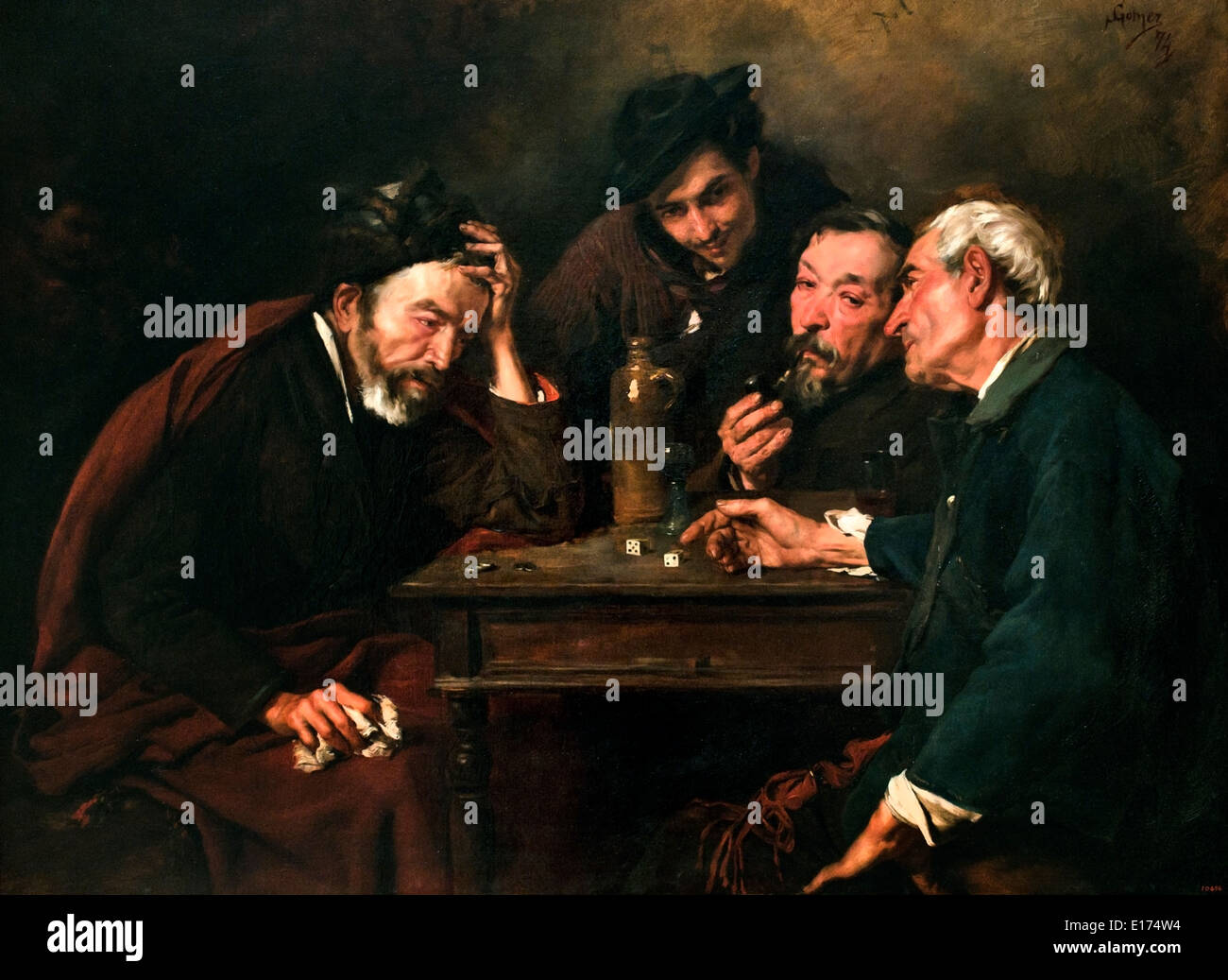 The Dice Players 1874 Simó Gómez 1845-1880 Spain Spanish - Stock Image