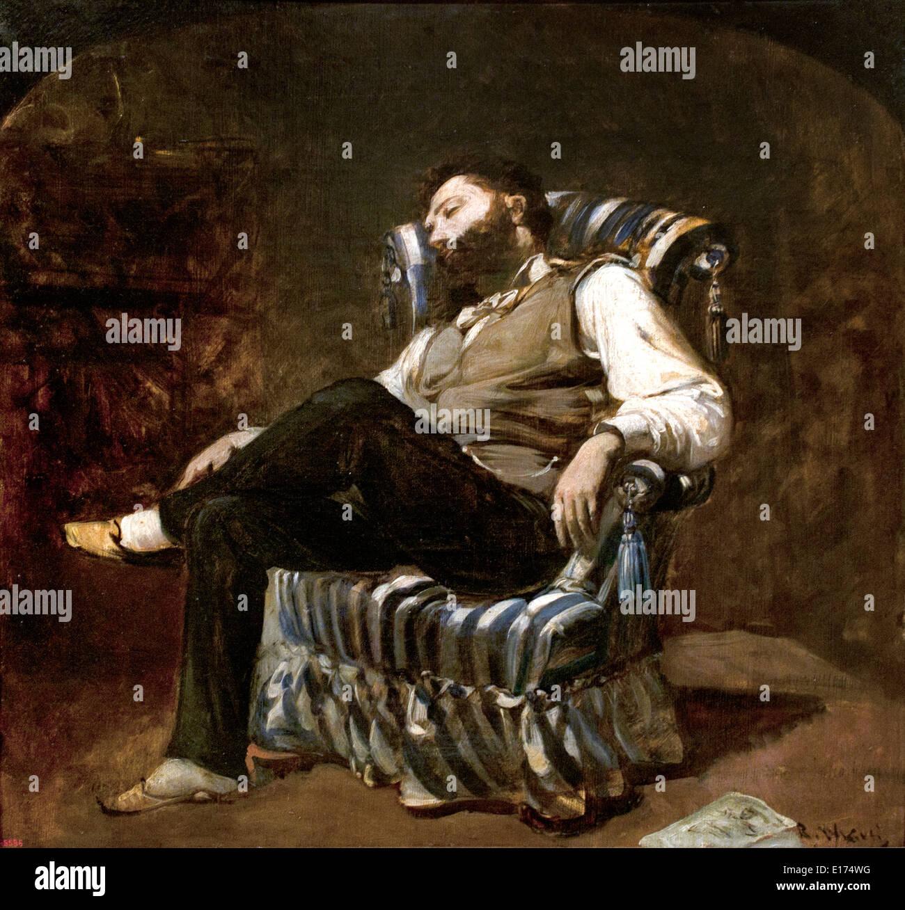 The Siesta 1884 Ramon Martí i Alsina 1826-1894 Spain Spanish - Stock Image