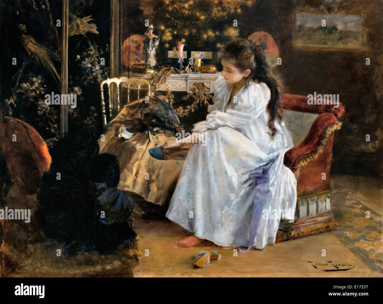 De soirée 1894 Romà Ribera 1893 Spain Spanish - Stock Image