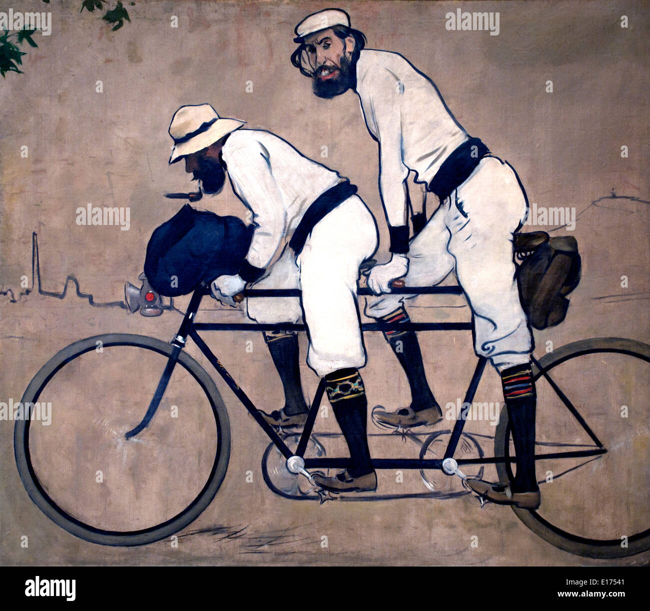 Ramon Casas and Pere Romeu on a Tandem by  Ramon Casas 1866-1932  Spain Spanish - Stock Image