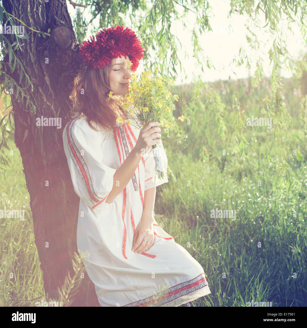 Beautiful portrait of ukranian girl - Stock Image