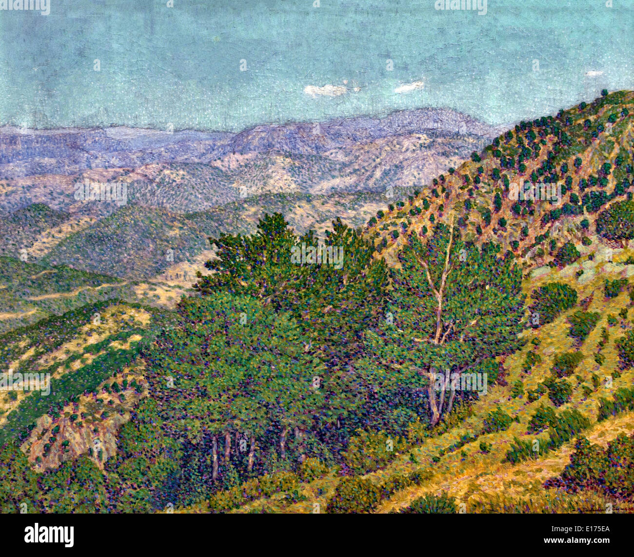 Mountains from Montseny  A Calm Day in the Morning 1903  Marià Pidelaserra 1877-1946 Spain Spanish Stock Photo