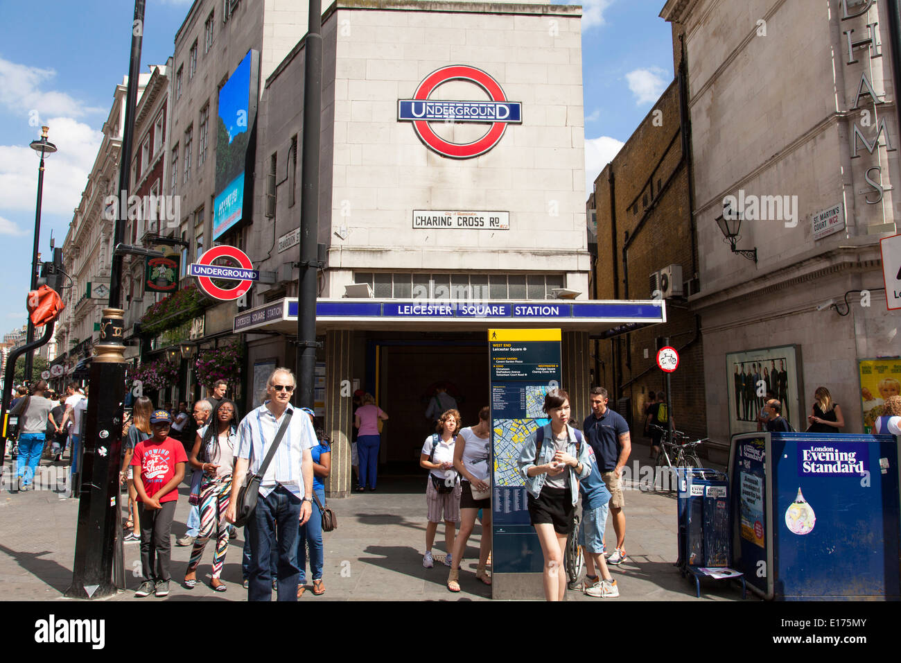 Leicester Square underground station, Charing Cross Road, London, England, U.K. - Stock Image