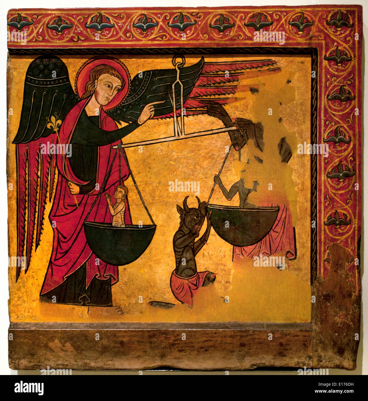 Saint Michael Weighing Souls Beginning of 14th century (church of Sant Cristòfol de Toses ) Medieval Gothic Art Spain Spanish - Stock Image