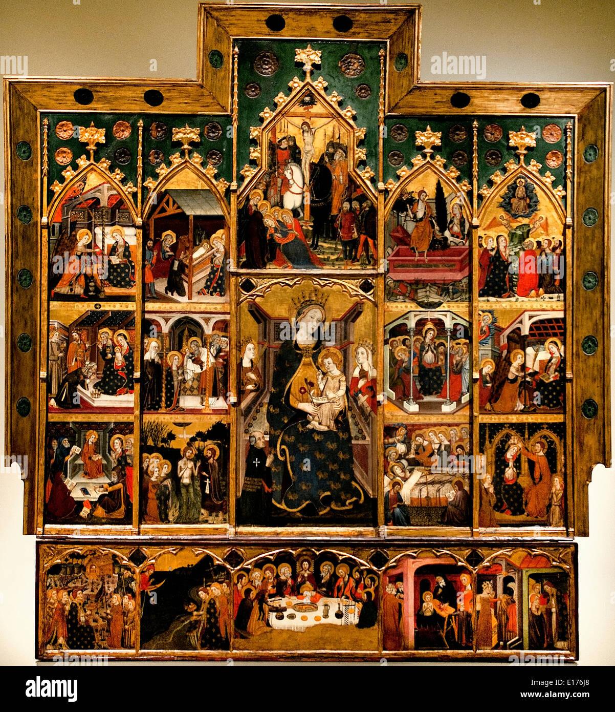 Altarpiece Virgin 1367-1381 (monastery Santa María de Sigena (Villanueva de Sigena Huesca) Jaume Serra Medieval Stock Photo