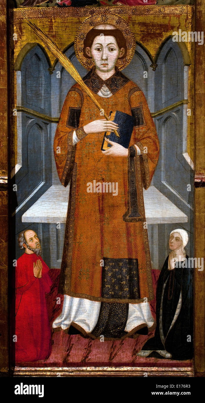 Altarpiece Saint Stephen ( Monastery of Santa Maria de Gualter ) 1385 Jaume Serra  Barcelona1358 -1395 Medieval Gothic Art Spain - Stock Image