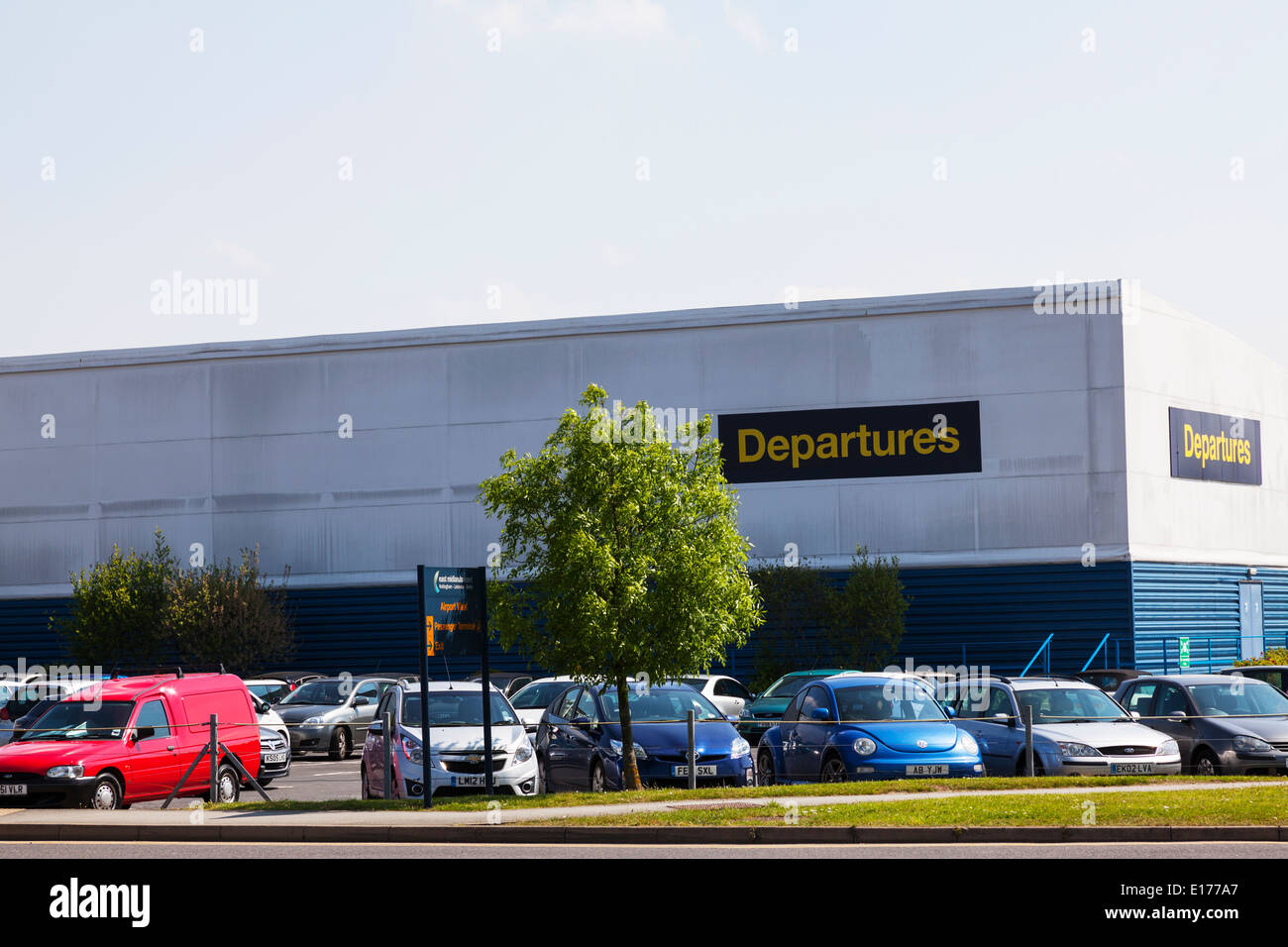 Departures building outside East Midlands airport  Nottingham airport england - Stock Image