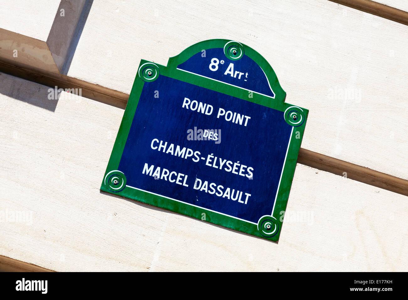 rond point des Avenue Des Champs Elysees Elysées Marcel Dassault sign Paris city europe european destination - Stock Image