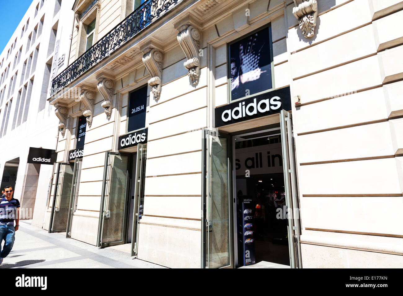 Adidas shop front Avenue Des Champs Elysees Elysées Paris city europe european destination - Stock Image