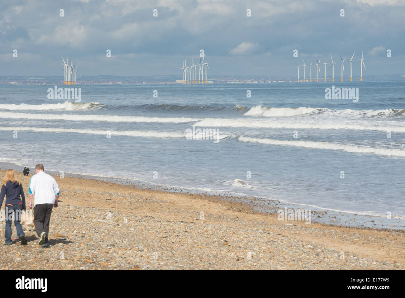 The off-shore wind farm at Redcar in Cleveland - Stock Image