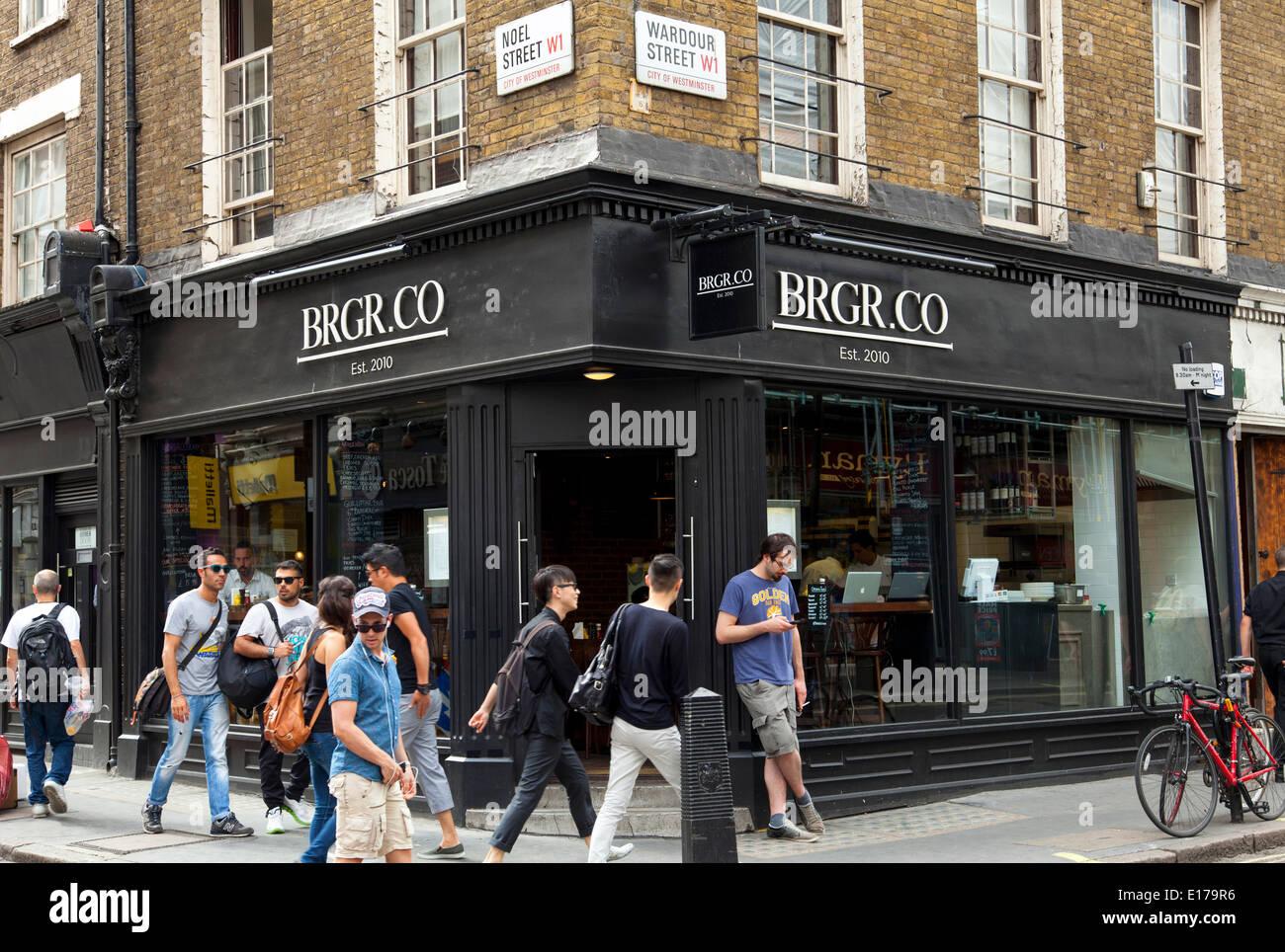 BRGR Co restaurant, Wardour Street, Soho, London, England, U.K. - Stock Image