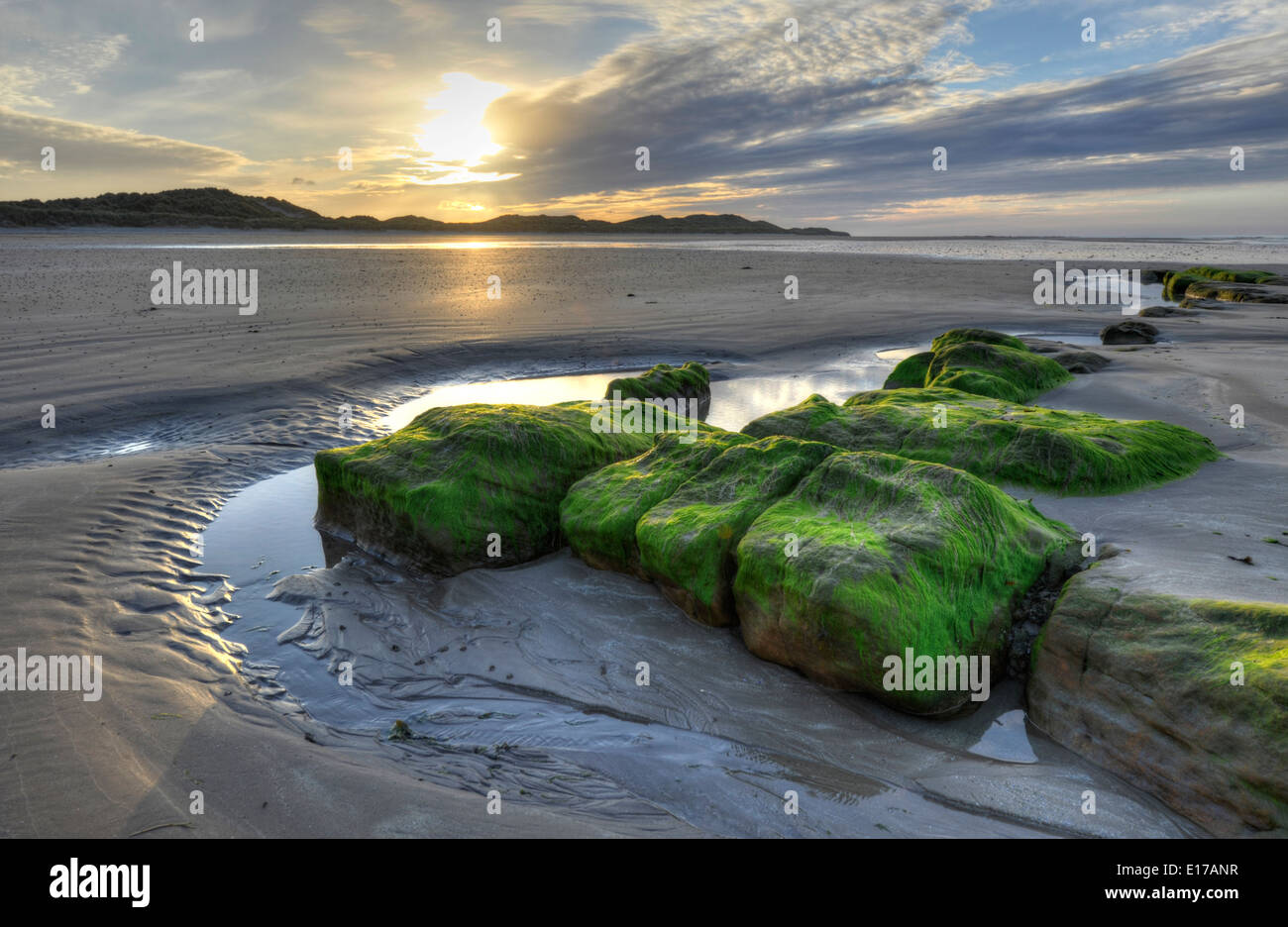 Seahouses beach at sunset - Stock Image