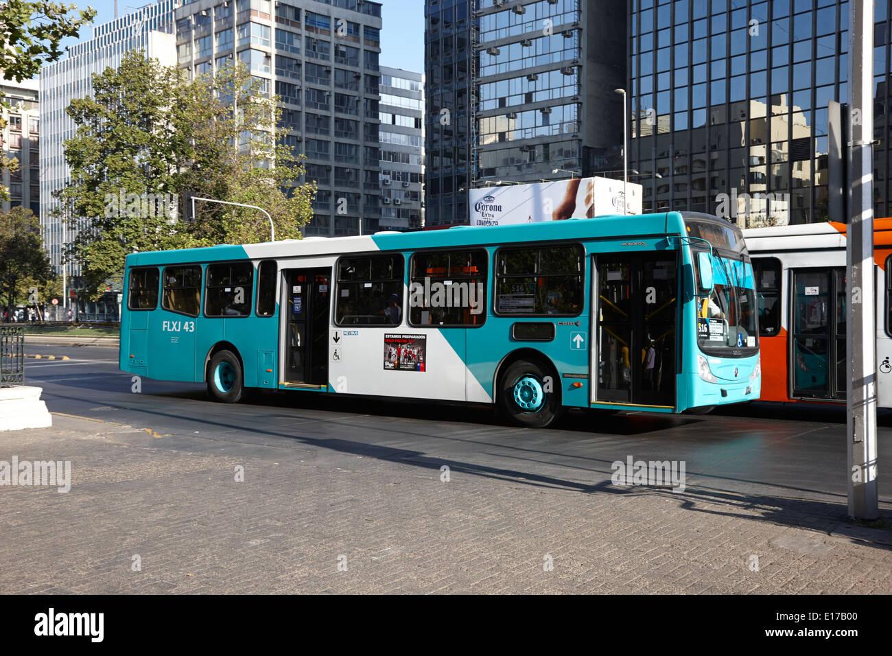 metbus city bus route in the centre of Santiago Chile avenida o'higgins - Stock Image