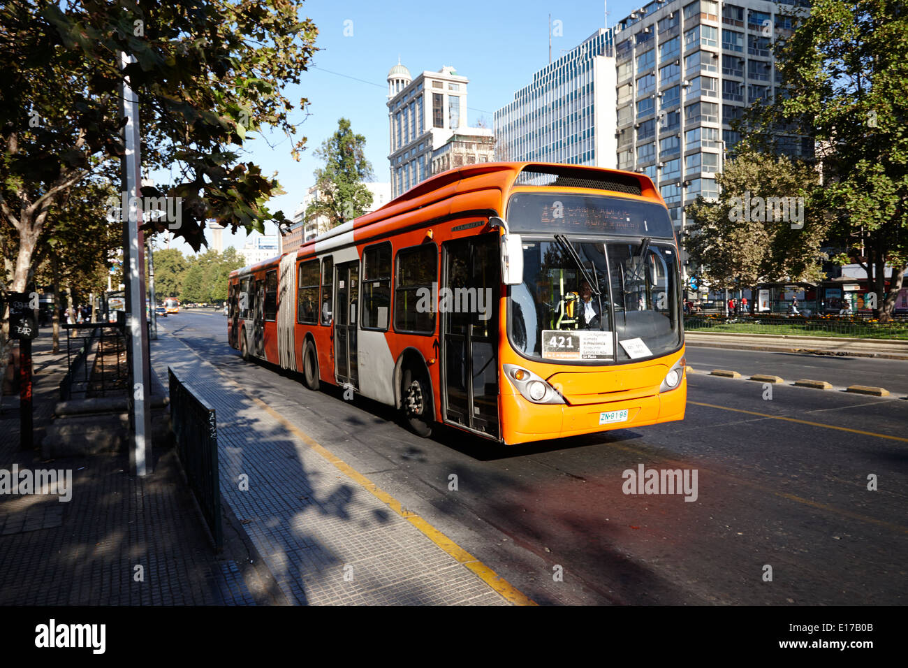 city bus route in the centre of Santiago Chile - Stock Image