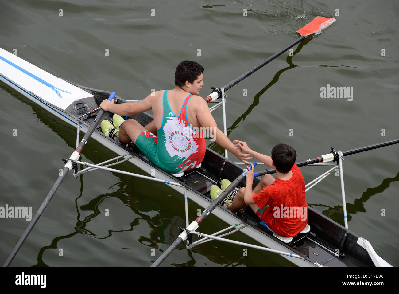 Rowing team mates - Stock Image