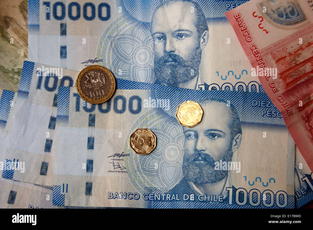 chilean peso notes and coins - Stock Image