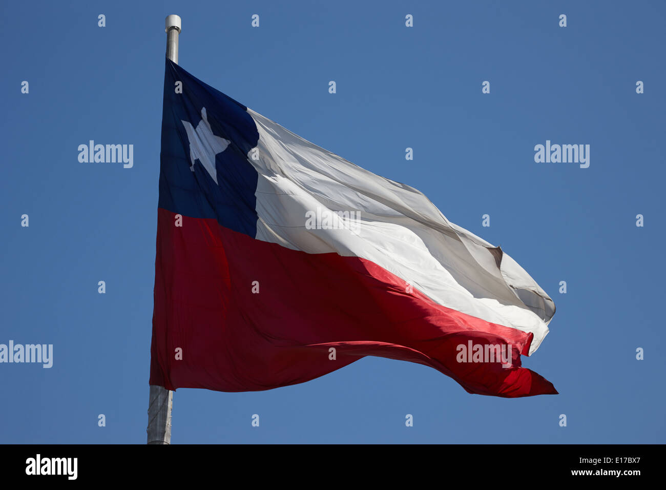 large bicentenary flag in citizens square Santiago Chile Stock Photo